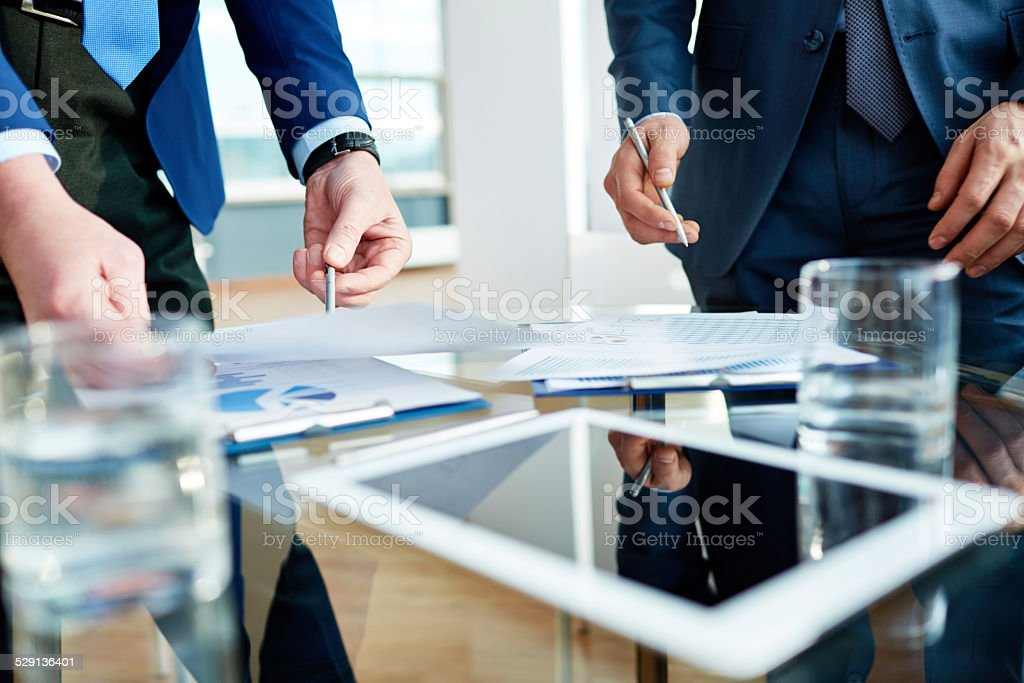 Financial discussion stock photo