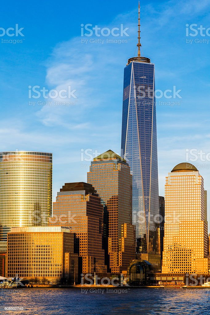 Financial District at Sunset, Manhattan, New York stock photo