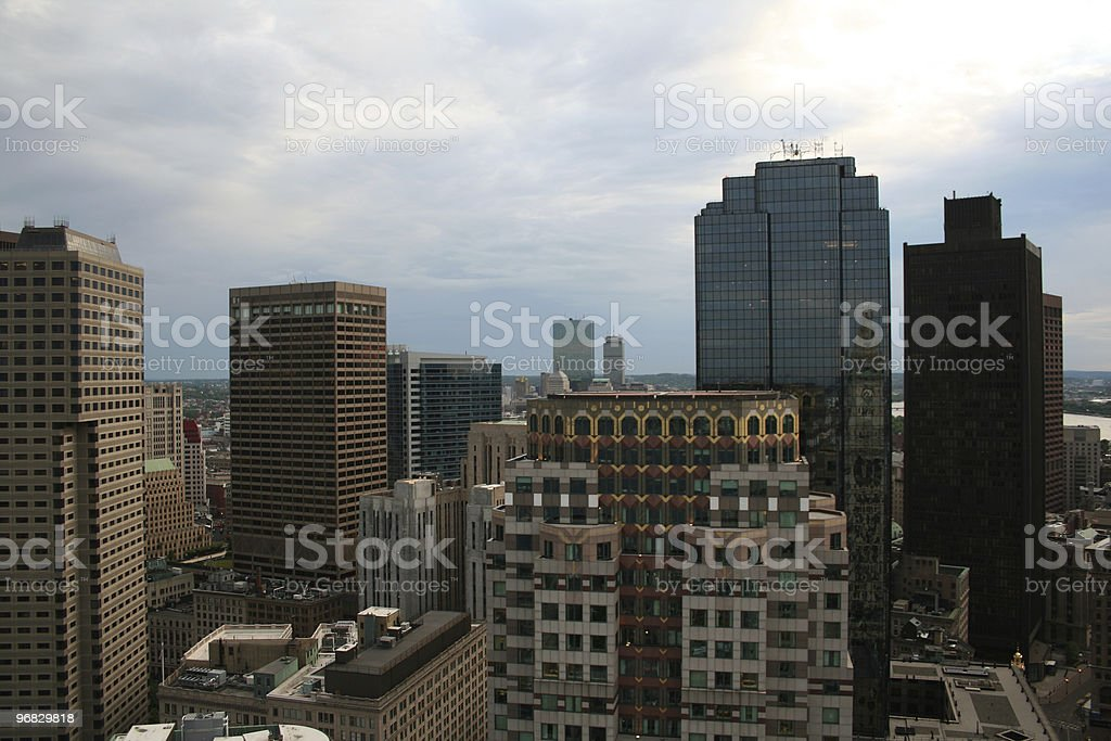 Financial District Back Bay Prudential Hancock Towers Boston Aerial royalty-free stock photo