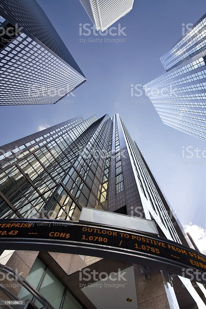 Financial District Buildings, Looking up stock photo