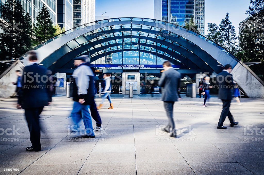 Financial district - Canary Wharf Station in London stock photo