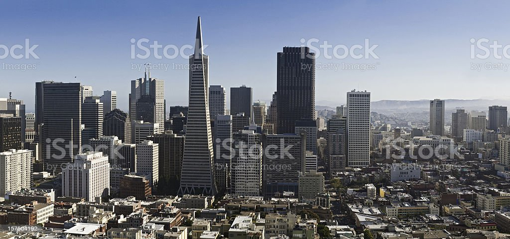 Financial District Chinatown aerial panorama San Francisco cityscape California royalty-free stock photo