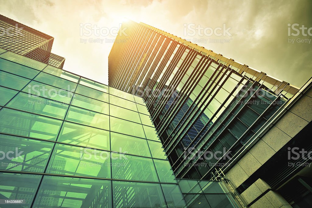 Financial District Glass Buildings, City of London royalty-free stock photo