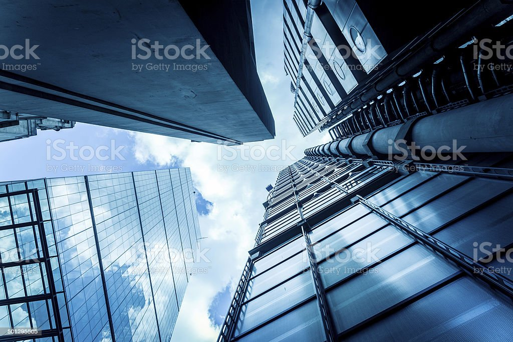 Financial District Glass Buildings, City of London stock photo