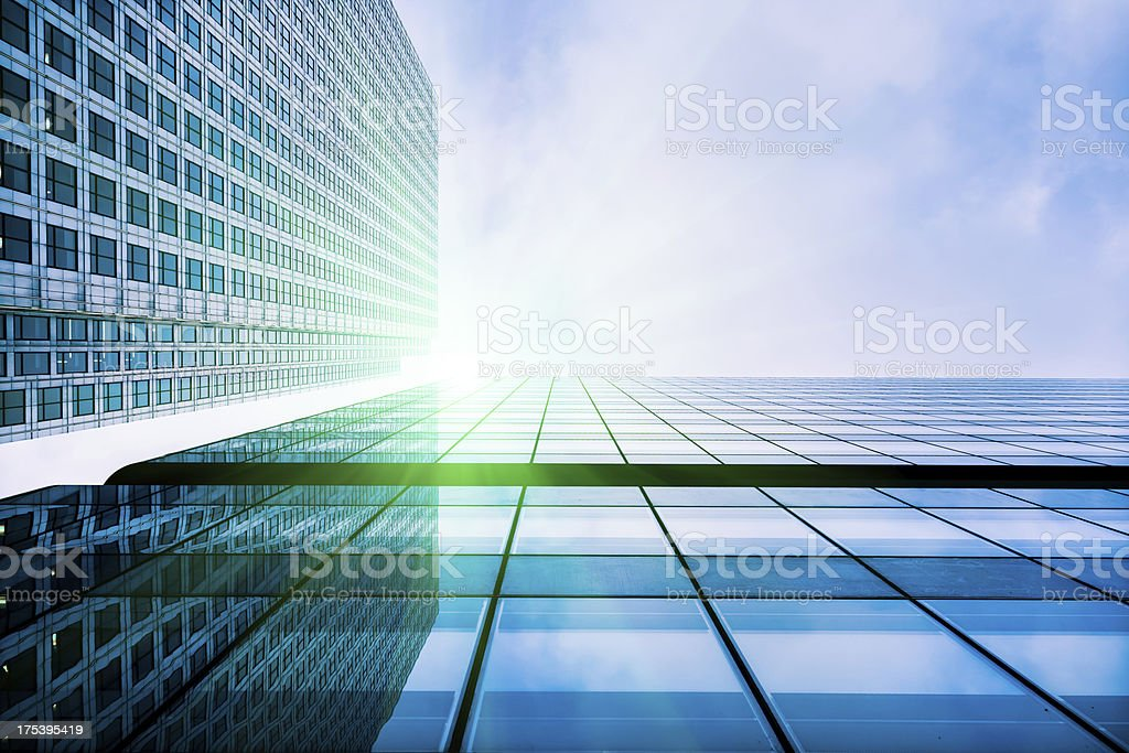 Financial District Glass Buildings, London stock photo