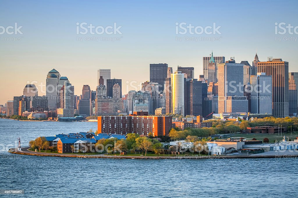 Financial District in Upper New York Bay stock photo