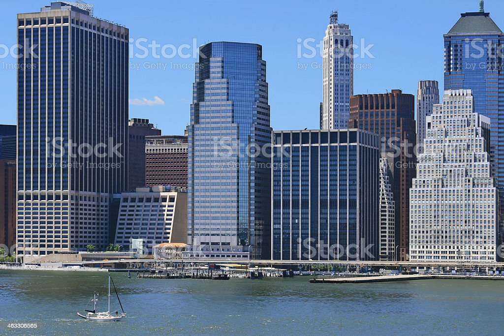 Financial District of Manhattan and New York City Skyline. stock photo