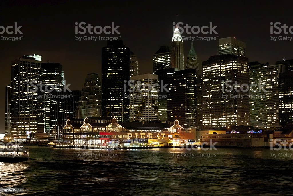 Financial District of Manhattan at Night, New York City. royalty-free stock photo