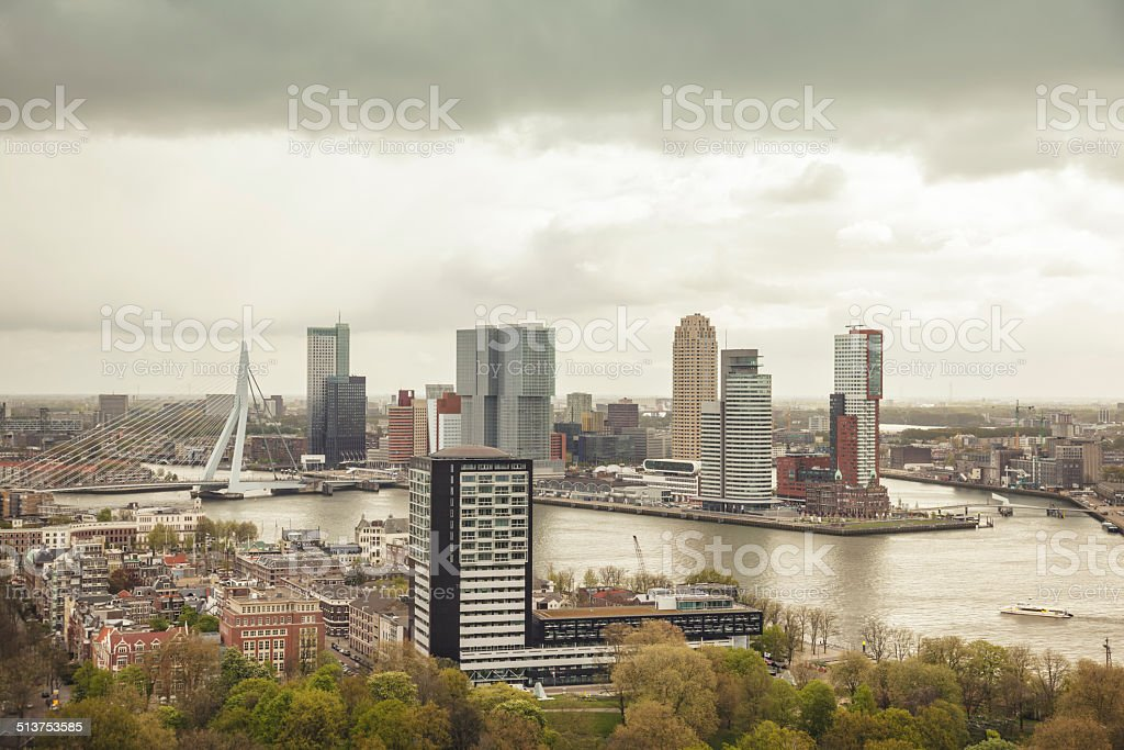 Financial district of Rotterdam (Netherlands) stock photo