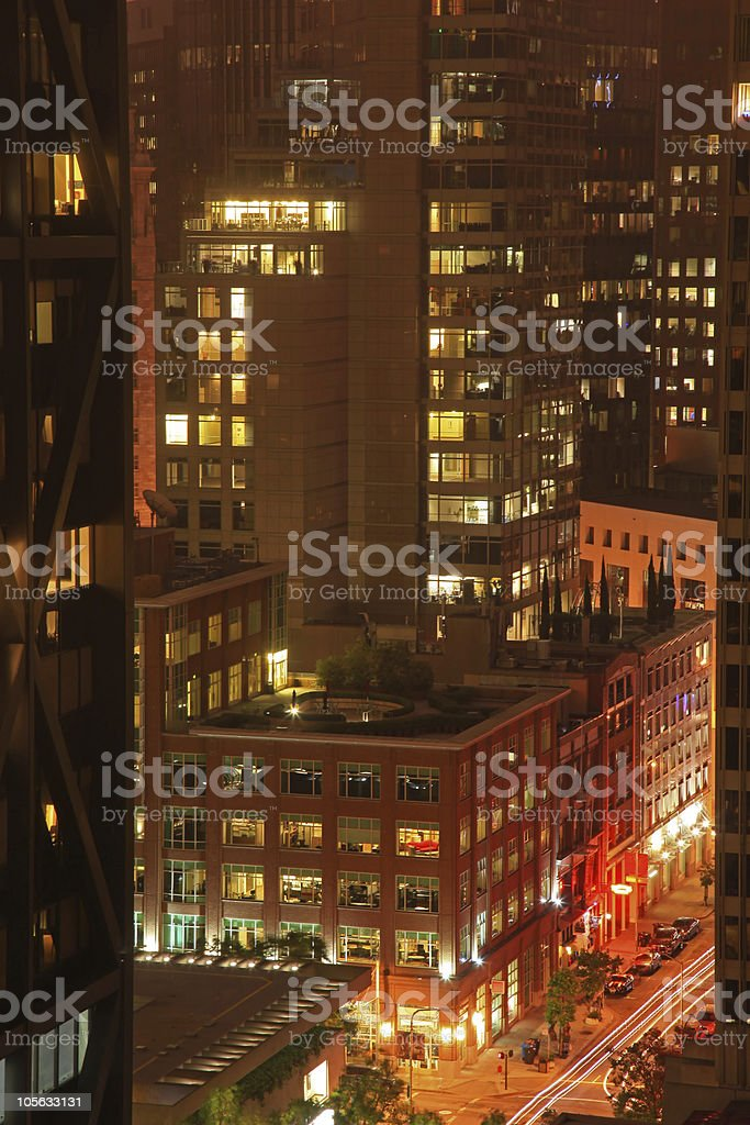 Financial District of San Francisco at Night royalty-free stock photo