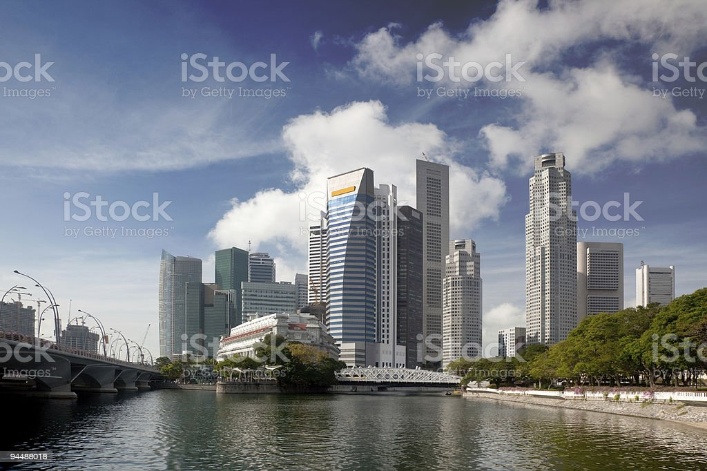 Financial district of Singapore stock photo