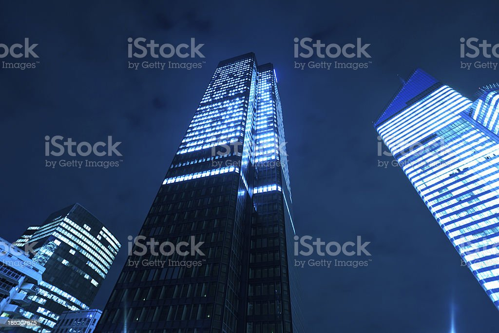 Financial District Offices Skyscrapers at Night stock photo