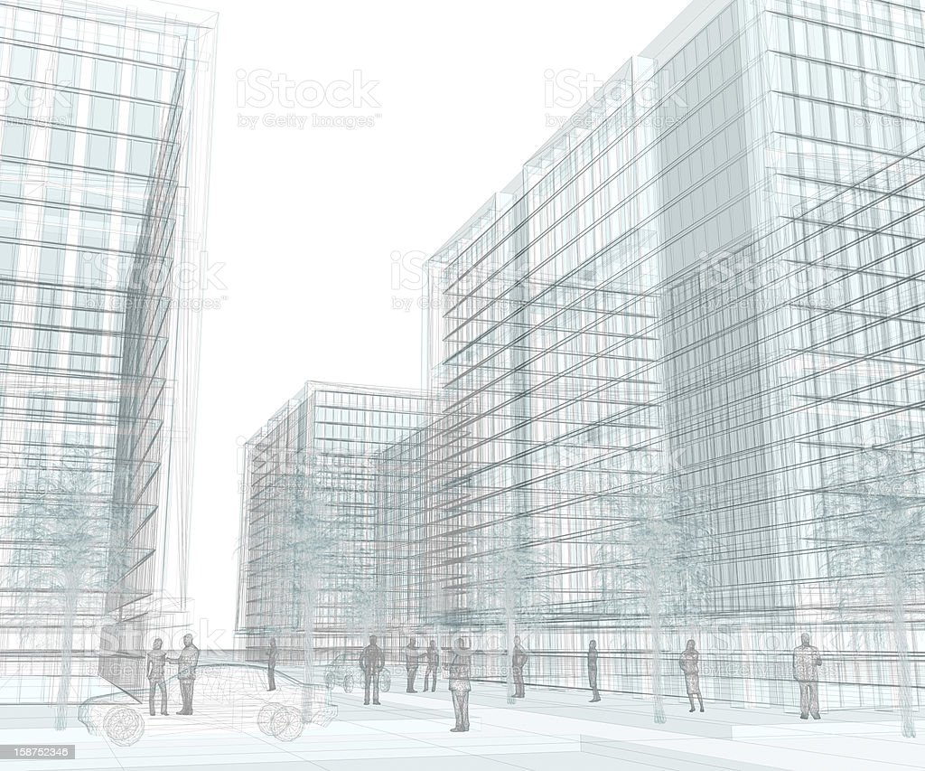 Financial District (wireframe on-white, 35 Mpx) royalty-free stock photo