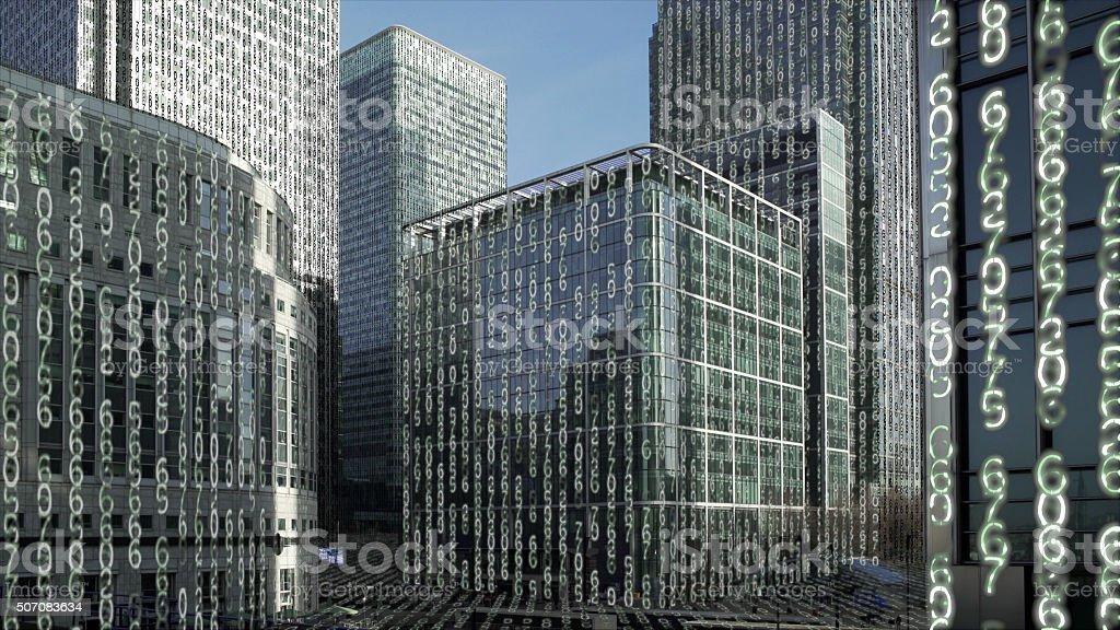 Financial district towers data matrix. stock photo