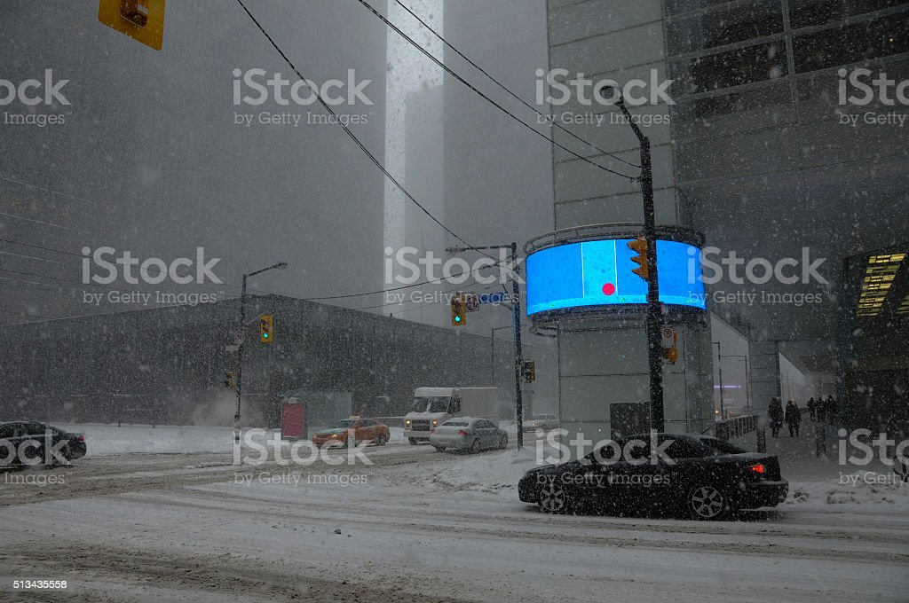 financial district under snowstorm stock photo