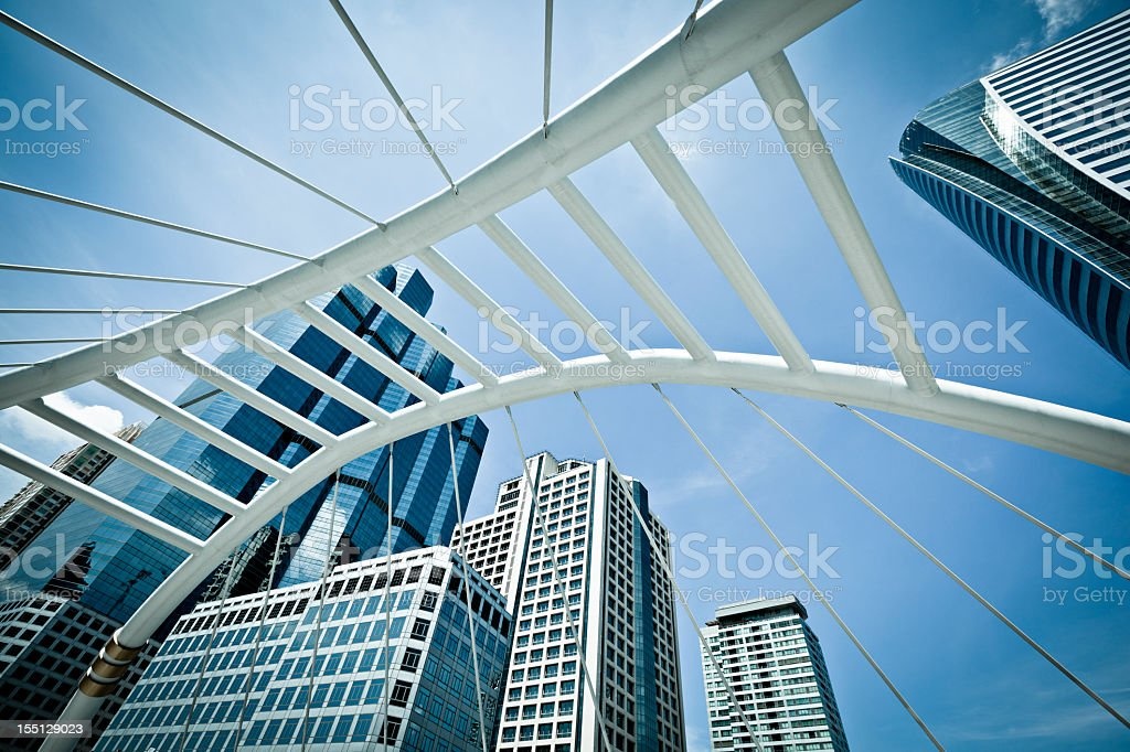 Financial district with tall buildings stock photo