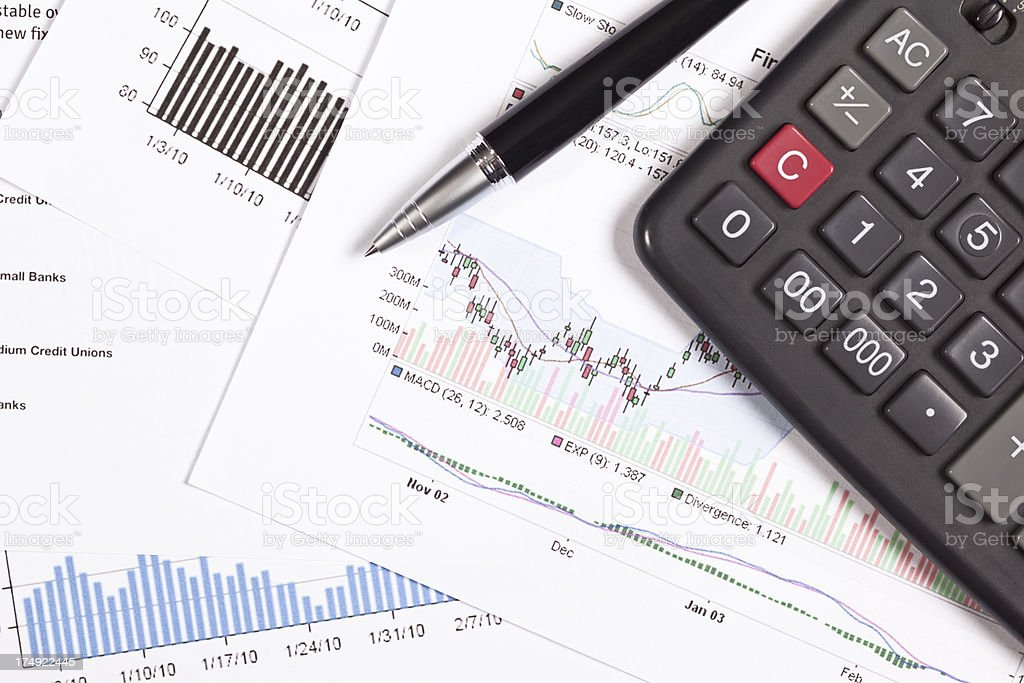 financial documents close up stock photo