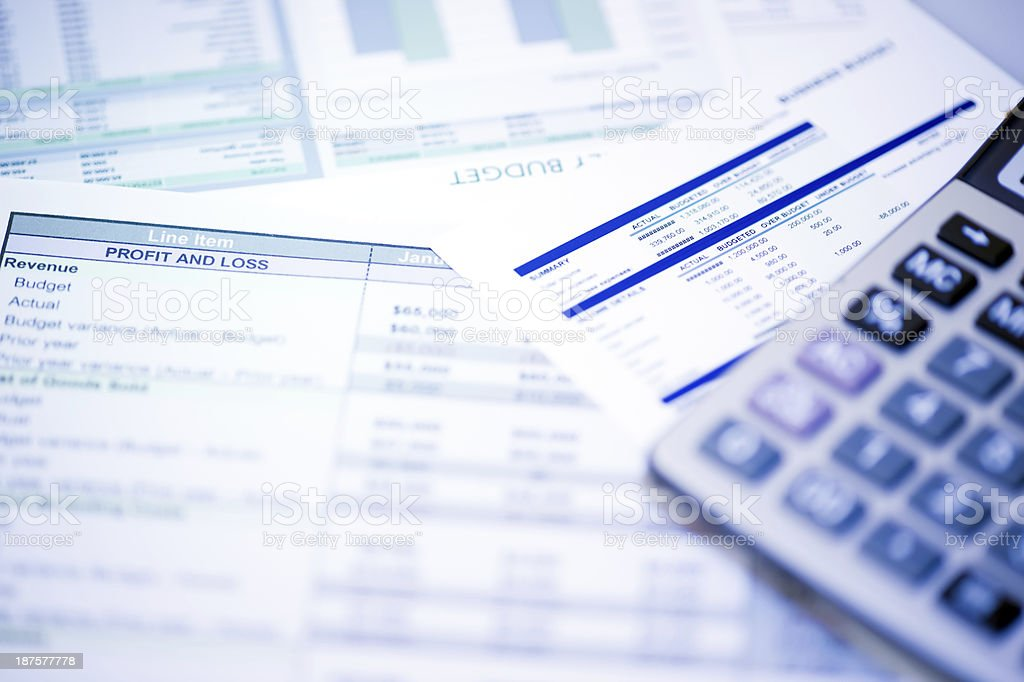 Financial Documents with Calculator stock photo