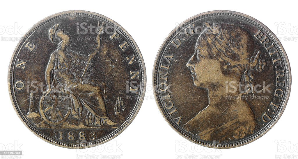 Financial / Economic History : Queen Victoria British Penny Coin royalty-free stock photo