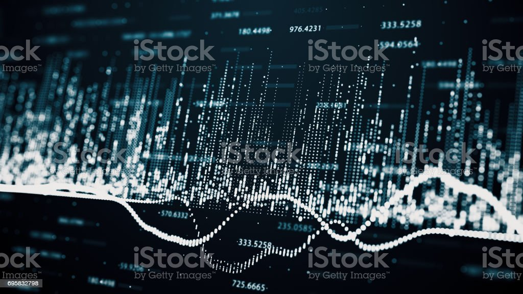 Abstract background with growing charts and flowing counters of...
