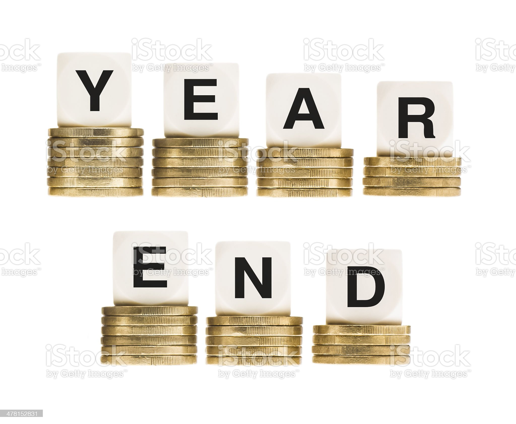 Financial Fiscal Tax Year End on Gold Coins royalty-free stock photo