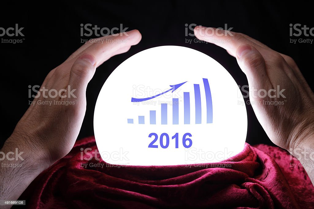 Financial forecast for 2016 stock photo