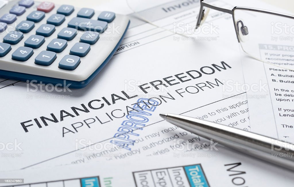 Financial freedom concept with apporoved application royalty-free stock photo