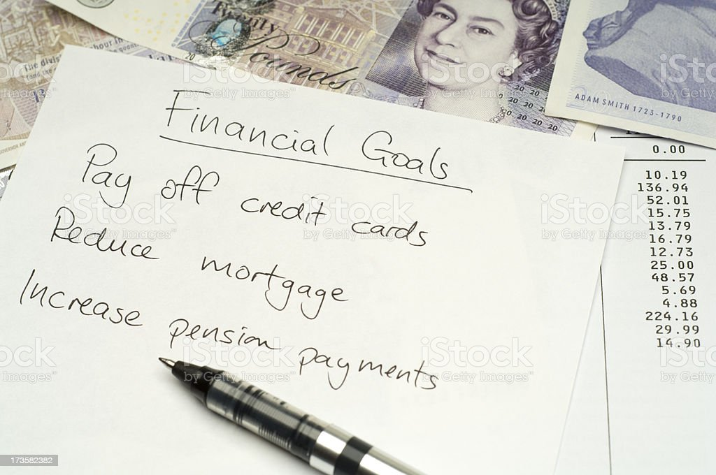 Financial goals list royalty-free stock photo