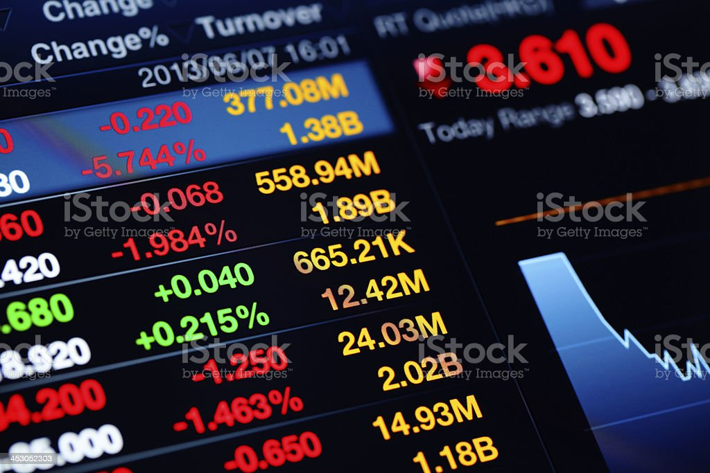 Financial graph and data stock photo