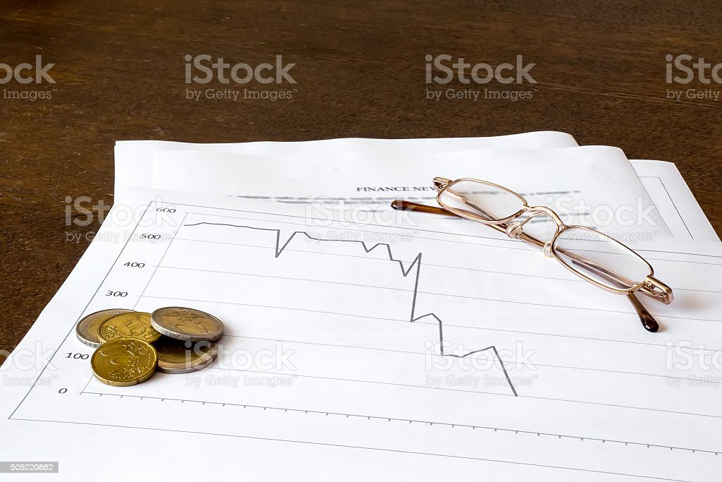 Financial graph report for business stock photo