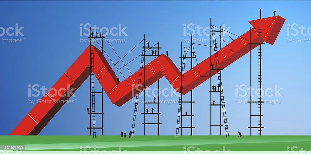 3D financial graph with people stock photo