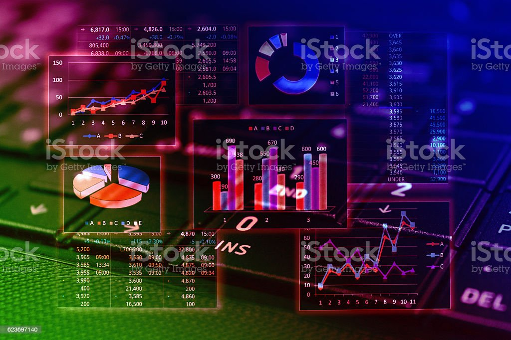 Financial graphs analysis stock photo
