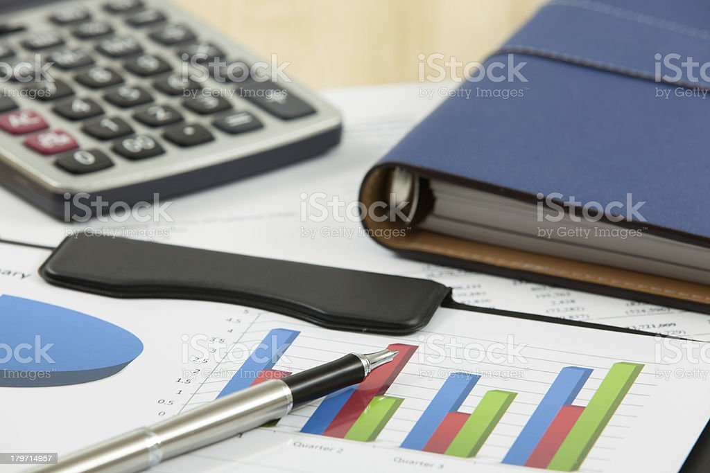 Financial graphs and charts royalty-free stock photo