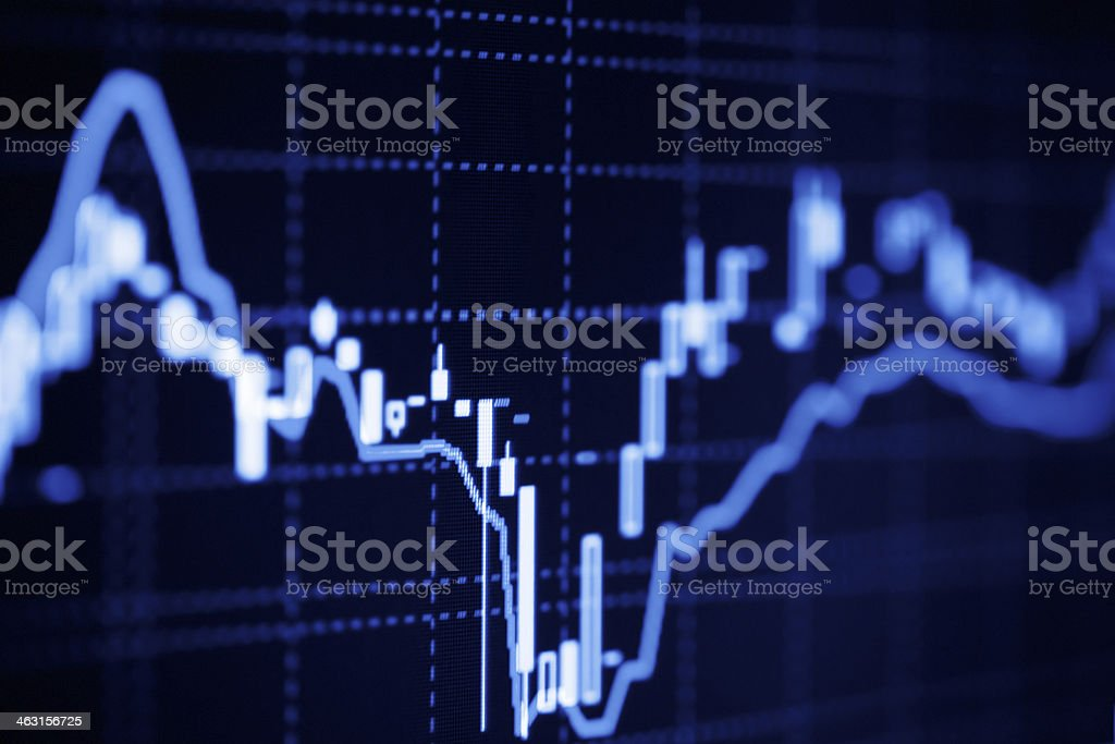 Financial graphs on the computer screen stock photo