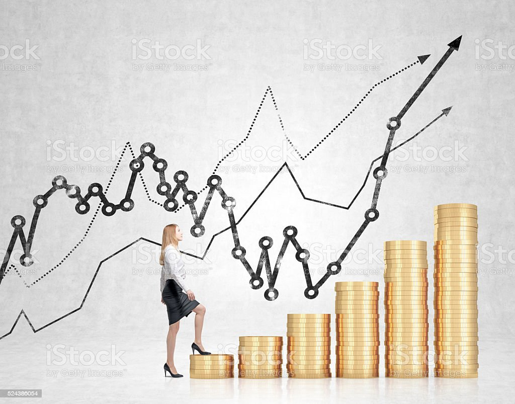 Financial growth businesswoman stock photo