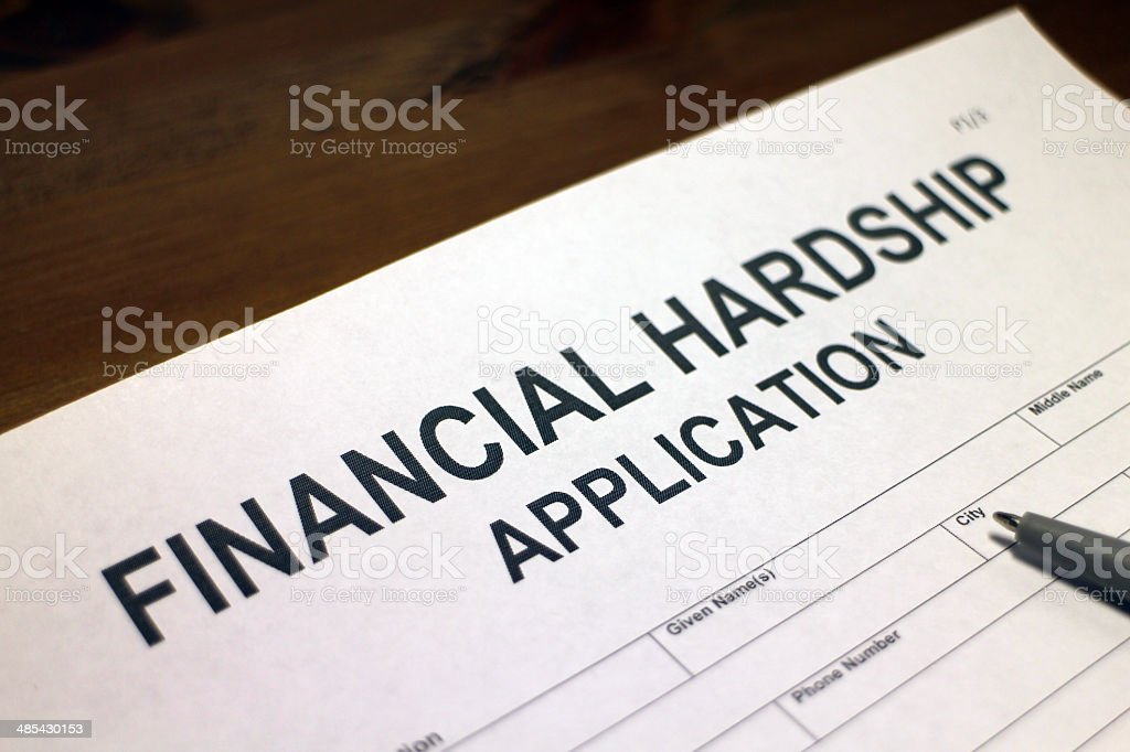 Financial Hardship Application Form stock photo