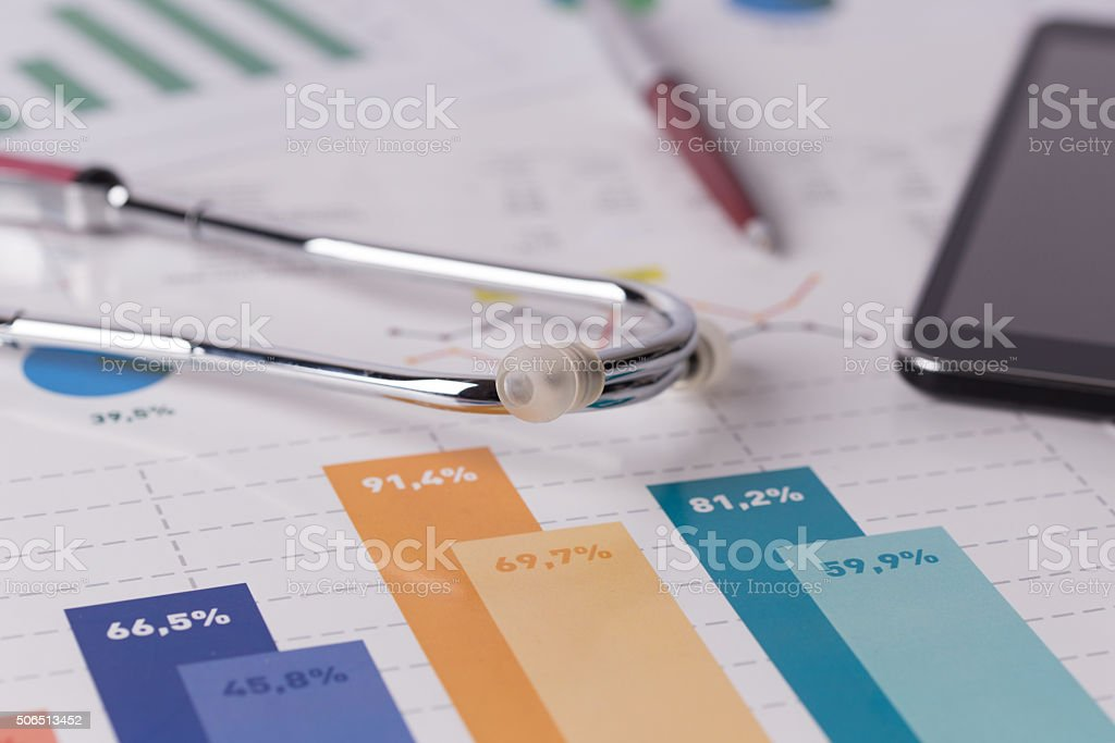 Financial Health Check or Cost of Healthcare Concept stock photo