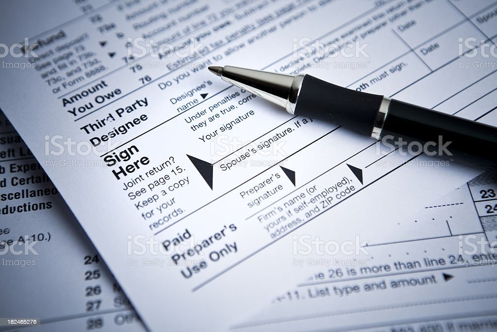 Financial IRS contract tax forms royalty-free stock photo