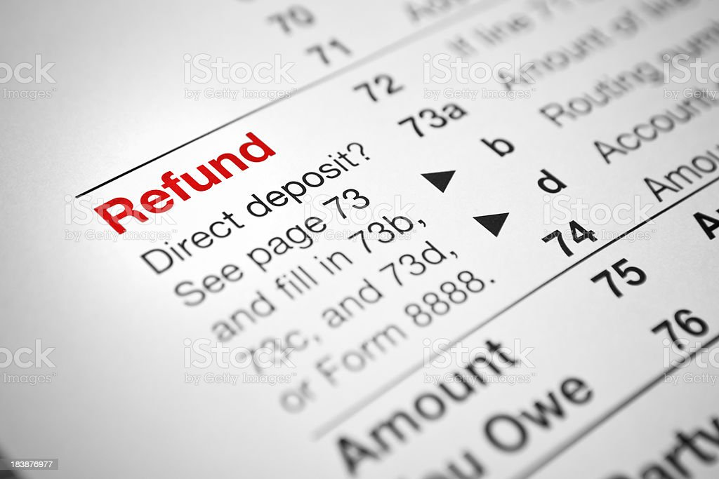 Financial IRS tax return forms stock photo