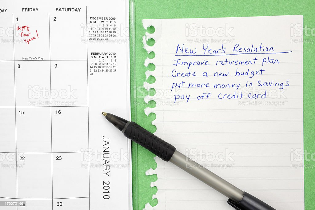 Financial New Year's Resolution royalty-free stock photo