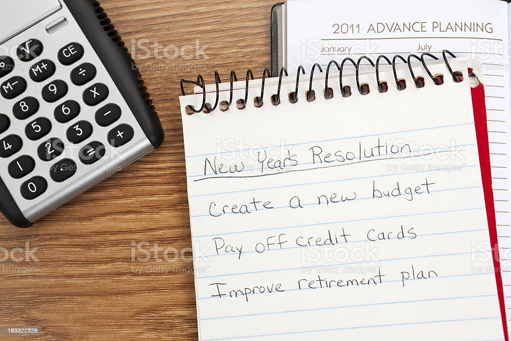 Financial New Year's Resolutions royalty-free stock photo