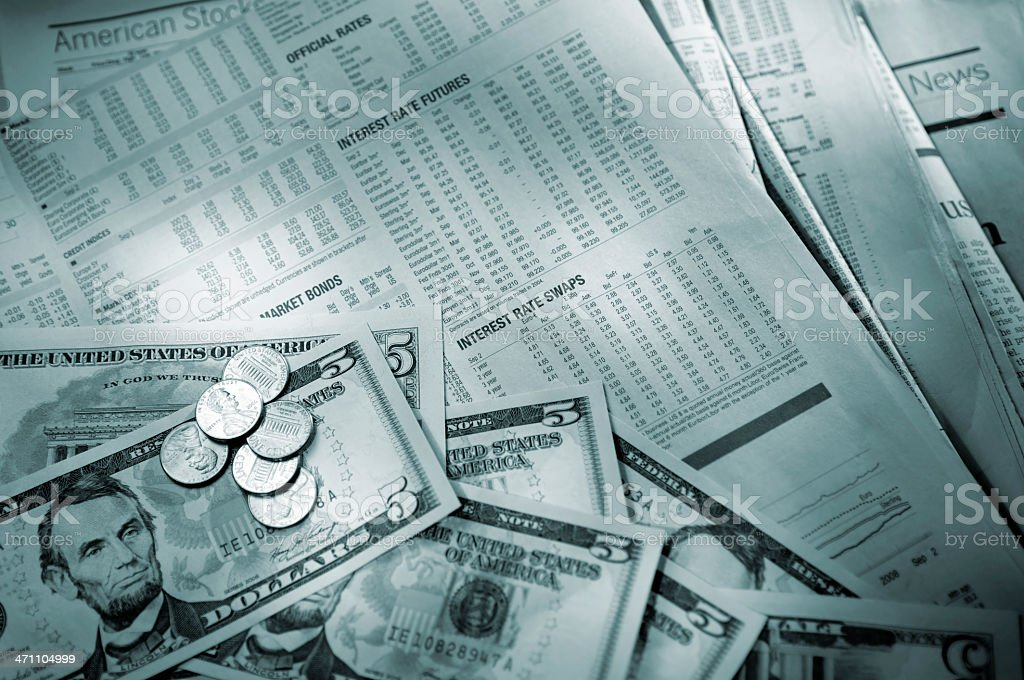financial newspaper series stock photo