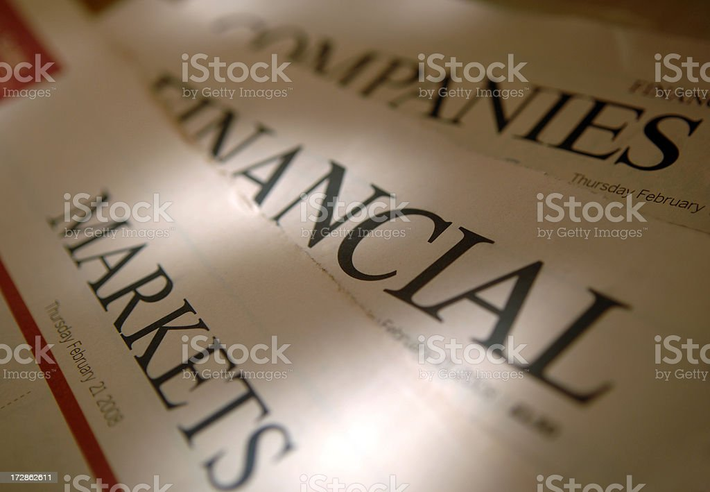 Financial Newspaper Titles stock photo