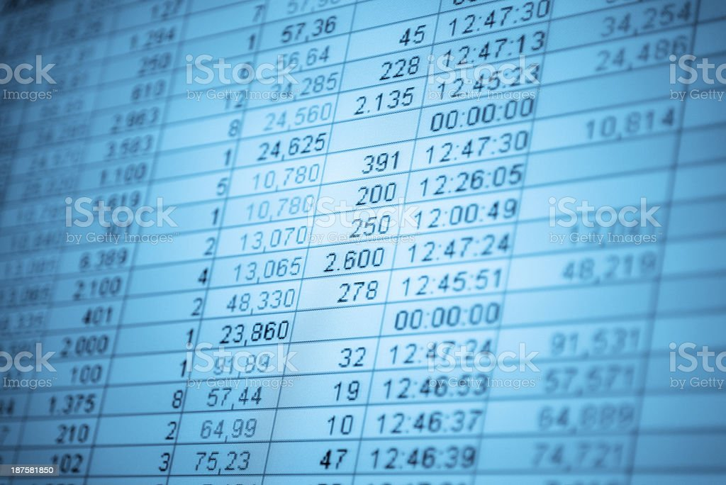 Financial Numbers on lcd screen royalty-free stock photo