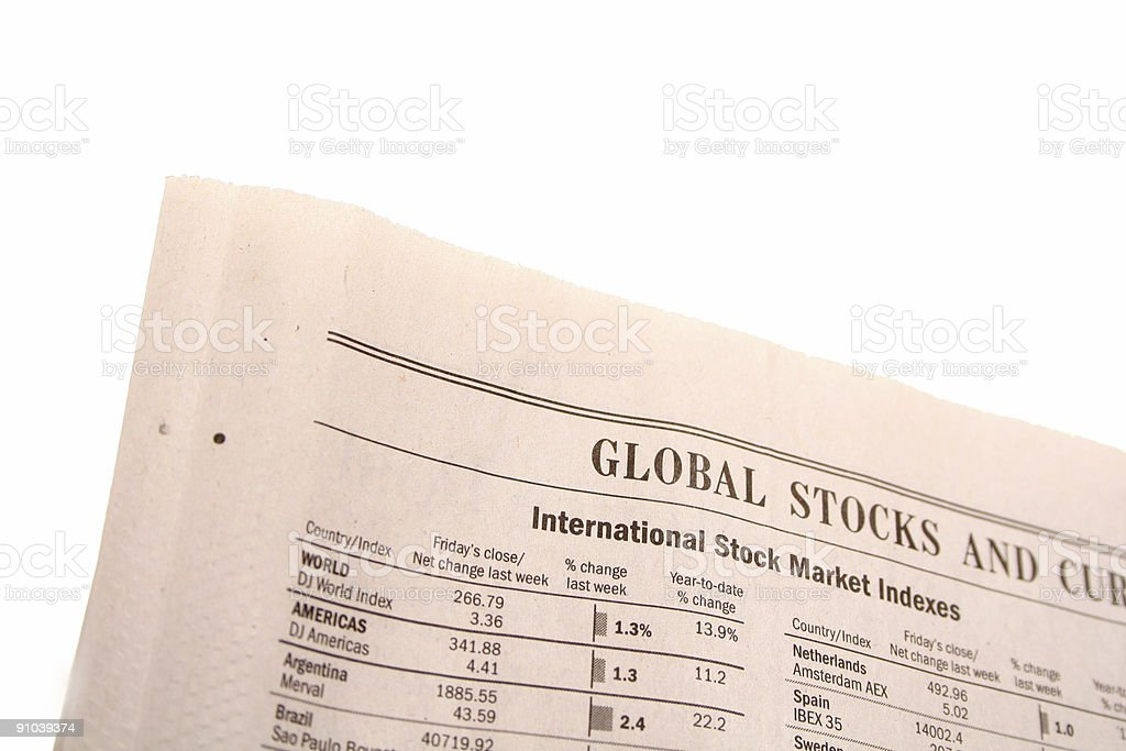 Financial paper on white background stock photo