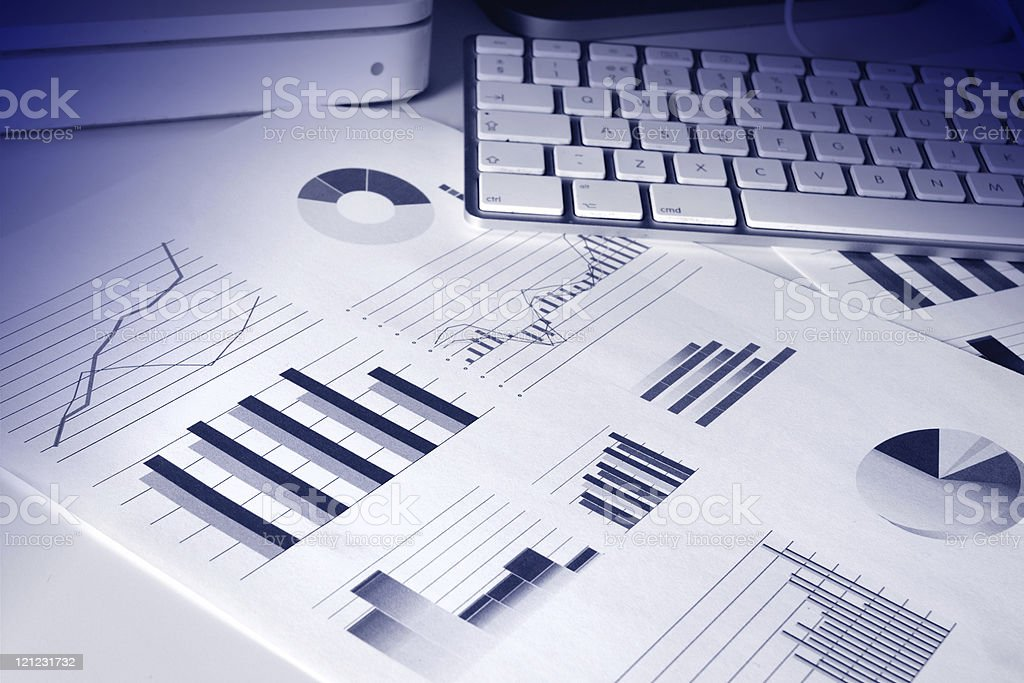 financial performance graphs stock photo