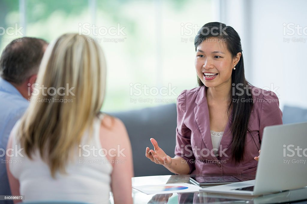 Financial Plans with an Estate Planner stock photo