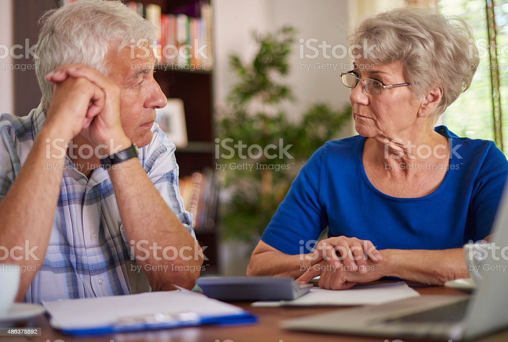 Financial problems of senior couple stock photo