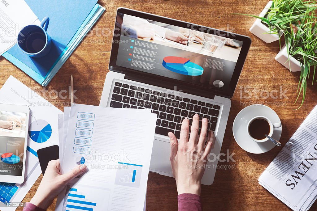 Financial report online stock photo
