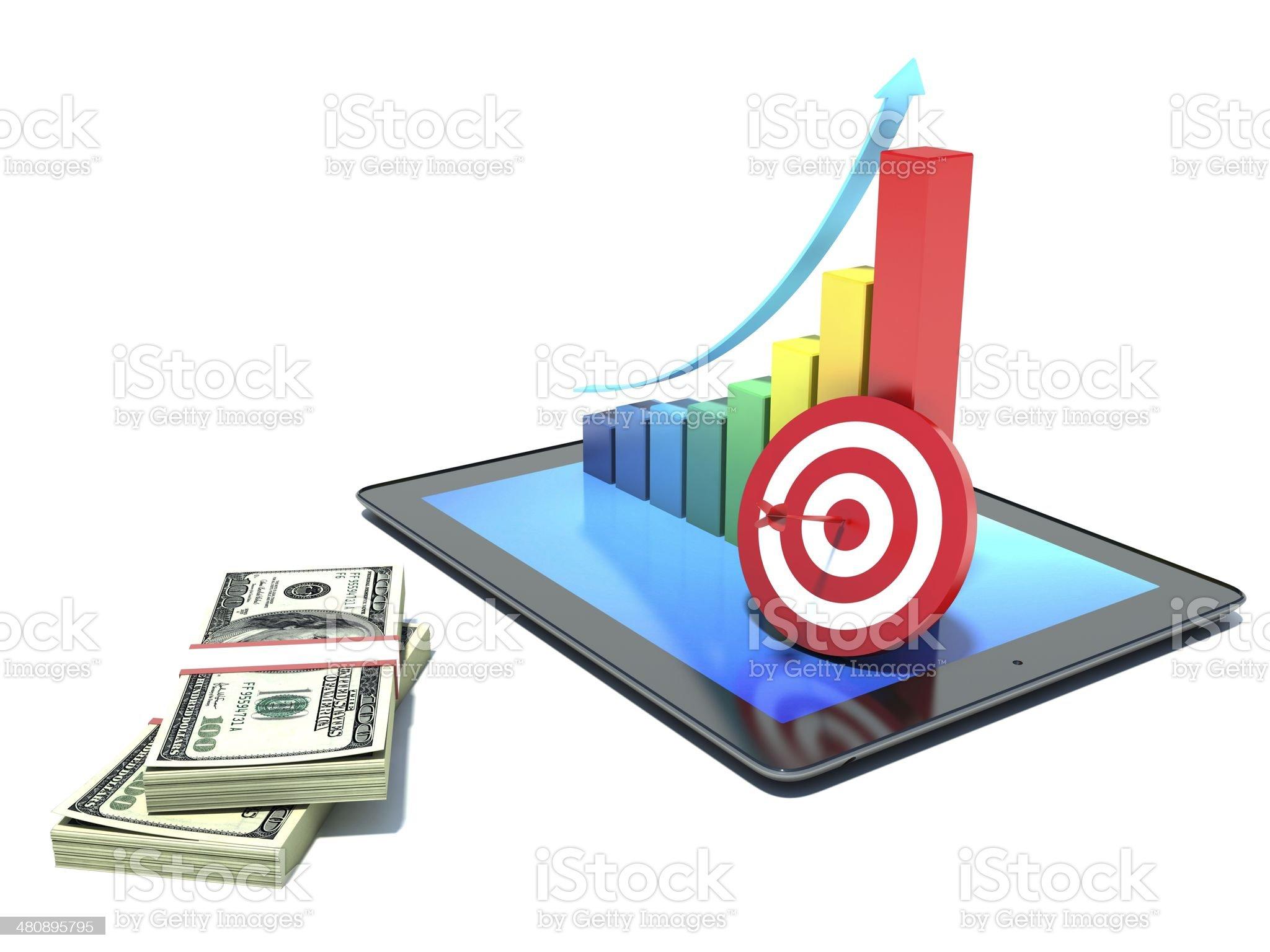 Financial report & statistics. Graph. Money royalty-free stock photo